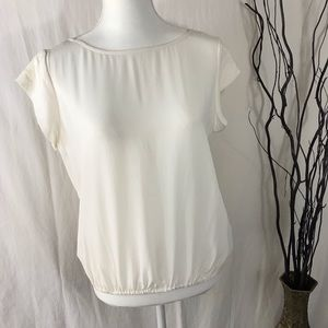JOIE Size Small Cream Silk Top V-Back Cap Sleeves